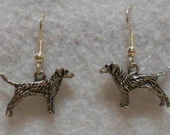Simple Dog Earrings  Antique Silver Dog Earrings