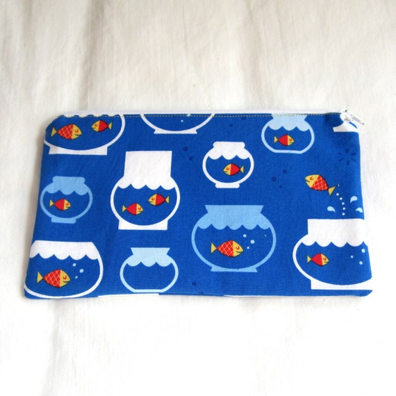 Goldfish in Bowls Fabric Zipper Pouch / Make Up Bag / Pencil Case / Gadget Sack