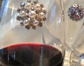 Rhinestone & Pearl Stemless Winecharms