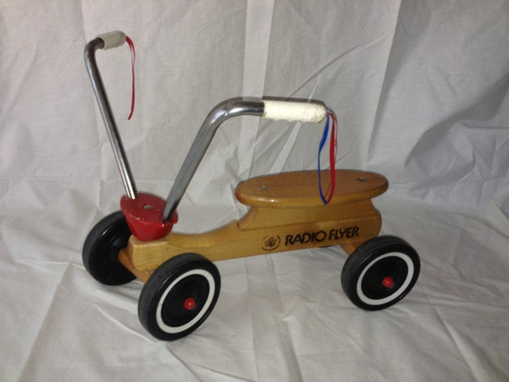 Vintage Radio Flyer 4 Wheel Solid Maple Toddler Scooter Ride