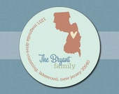 Personalized Return Address Labels Stickers  - States - New Jersey - Set of 70 Matte Round Labels