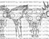 INSTANT DOWNLOAD Steampunk Gents Set of 4 Digital Stamp Images