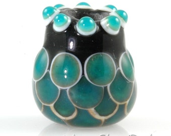 Ocean Green Fish Scales Jug Focal Bead SRA Lampwork Glass