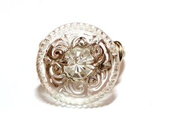 Gorgeous Antique Clear Glass Button Sterling Silver Ring