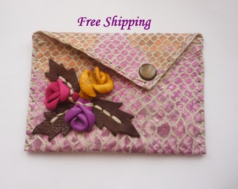 Snakeskin Embossed Leather Business Card Holder, Credit Card Case,Small Wallet, Iphone4 case with 3 D Rosebuds/ FREE shipping