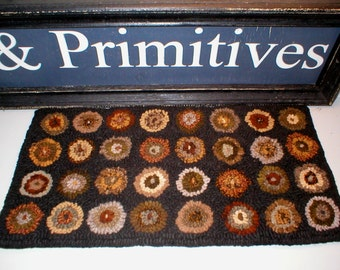 PrimiTive Folkart Earthy Penny Hooked Rug  LJO Collection  We Ship Internationally