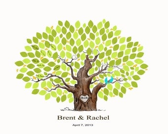 Wedding Guestbook Alternative Print--  To Be Personalized With Guest's Signatures - 17x22 - 160 Signature Wedding Guest Book tree