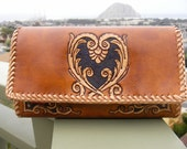 Wallet / Women's / Large / Leather / Purse / Hand Tooled and Carved  / Heart / Wallet / Clutch / Leather Purse