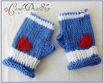 Girls blue and white mittens, Blue-white gloves, Dark blue wrist warmers, Dark blue and white fingerless mittens ( for 4-5 years old )