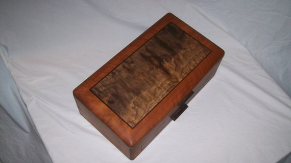 Large Cherry Jewelry Box with Fancy Walnut Inlayed Panel from our Elite Collection