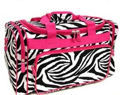"Personalized 23"" Duffle Bag-ZEBRA with Fuchsia Trim  GYM  CHEER  Dance"