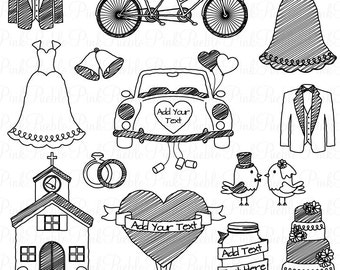 Doodle Wedding Clipart Clip Art, Hand Drawn Sketched Wedding Clip Art Clipart and Vectors - Commercial and Personal Use