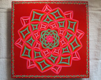 Mandala Painting Energy Circles Bright Red with Blue Green and Pink on Hardwood Panel