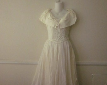 1940's 50s Off White Wedding Dress Party Lines By Domb Tea Length