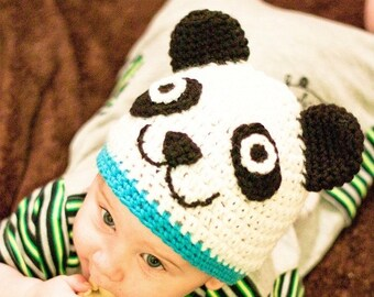 Crochet Baby Hat Pattern, Crochet Hat Pattern, Beanie Crochet Pattern, Panda Hat