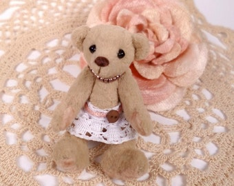 Sweet L'il Girl Micro Miniature Artist Bear 5cm / 2inches by VonneBears
