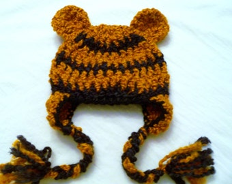Baby Hat - Tiger Hat - Baby Tiger Hat -   Baby Hats - Halloween Costume - Cute and Soft Earflap - by JoJosBootique