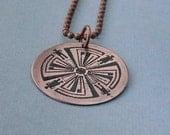 Haven Guard tattoo copper circle pendant