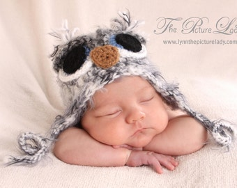 Newborn Owl Hat,  Baby Owl Hat, Baby Boy Owl Hat, Crochet Owl Hat, Baby Crochet Unique Photo Prop