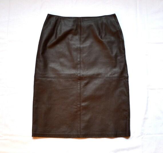 Brown Leather Skirt Medium