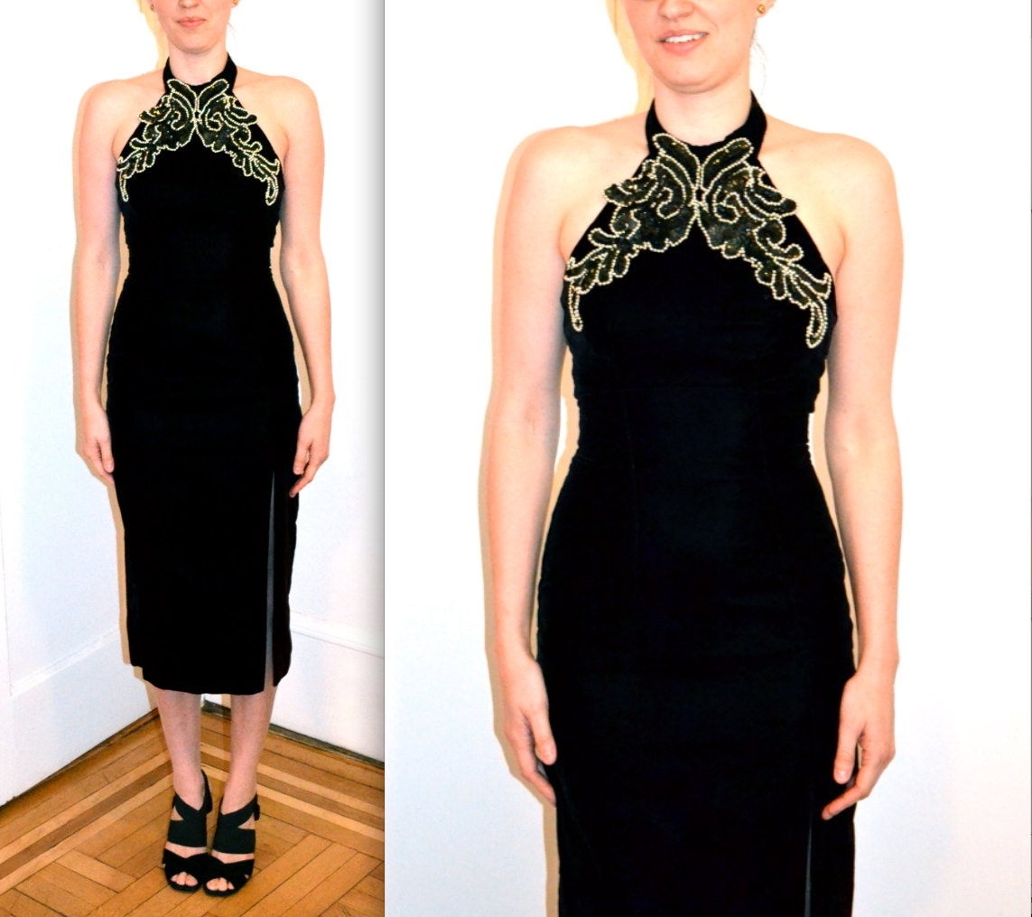 90s Prom Dress in Black Velvet Dress X Small// Vintage Evening