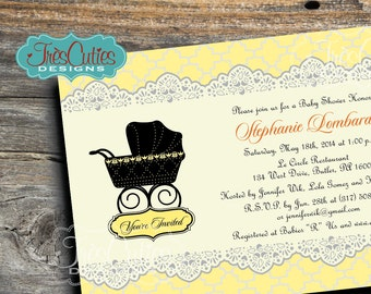 Gender Neutral Baby Shower Invitations - Lace Vintage Stroller - Baby Shower Neutral Invitation - Printable