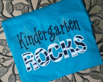 Kindergarten Rocks tshirt appliqued Damask fabric shirt TEACHER GIFT