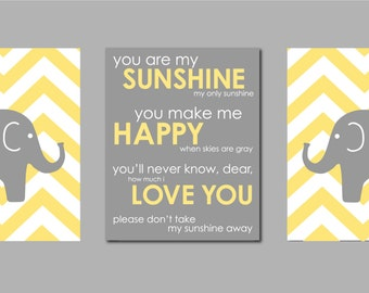 "Modern Nursery Yellow and Gray Prints  - Elephant Chevron Silhouettes and You are my Sunshine- Art for Nursery - Set of three 11""x14""s"