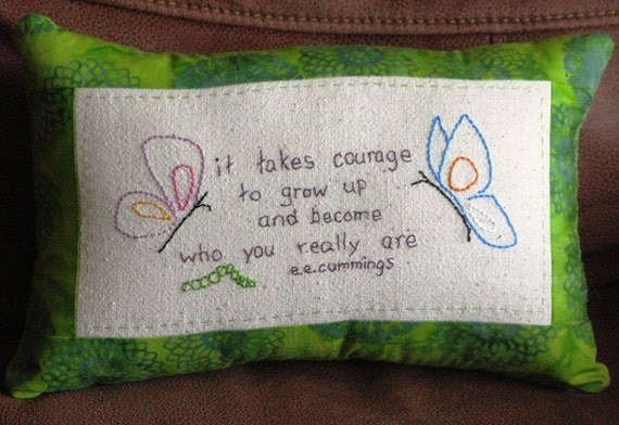 e.e. cummings quote- hand embroidered pillow