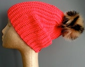 Leopard Pom Beanie in HOT pink, free shipping