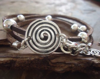 SPIRAL in BROWN LEATHER leather wrap  bracelet and beads 508