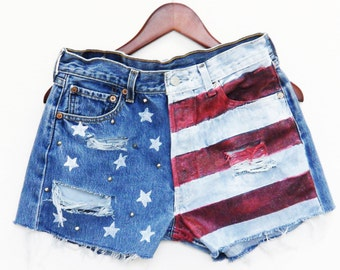 American Flag Shorts, High Waisted, Patriotic, Fourth of July