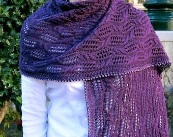 Knit Wrap Pattern:  Cable Lace Ladder Shawl Knitting Pattern
