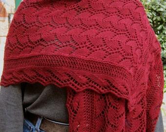 Knit Wrap Pattern:  Wave Edged Trellis Lace Shawl Knitting Pattern