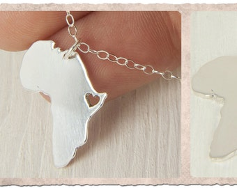 Africa Map Pendant Africa Necklace  Adoption pendant African pendant Africa Pendant Sterling Silver