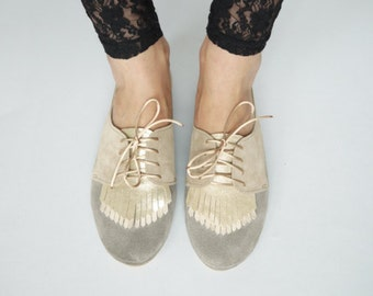Fringed Oxfords Shoes Handmade Pastel Leather Laced Shoes