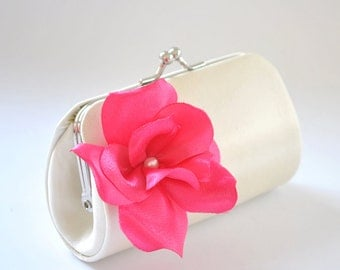 Ivory and Fuchsia -  Mini Flower Girl Clutch  / Custom made with over 50 colors to choose from