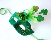 MASK- Shamrocks and Shenanigans - St. Patrick's Day- fairy, Mardi Gras, Venetian, masquerade mask