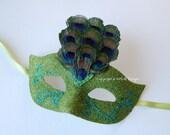 MASK- Giddy Green Peacock- masquerade mask, Mardi Gras,ballroom, fairy,Venetian, Halloween