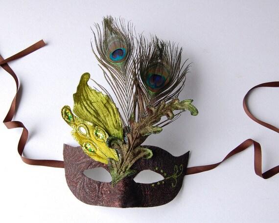 MASK- Olive and Chocolate Peacock- Halloween, fairy, Mardi Gras, Venetian, masquerade mask