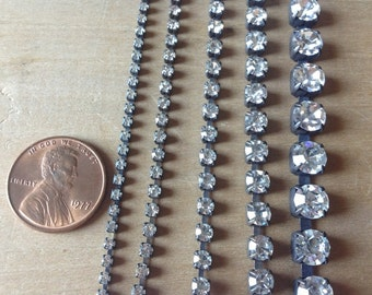Rhinestone Chain Sampler Aged Patina 2mm 3mm 4mm 5mm and 6mm 2 feet each