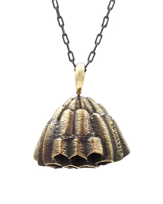 Honeycomb Wasp Nest Pendant Brass with 64 cm Chain