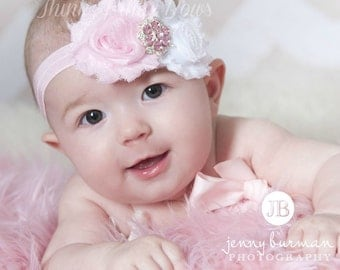 Baby Headband,Baby girl Headband,Newborn headband,Baby headbands, Pink and white Headband, Shabby Chic Headband,Flower Headband,Baby Bows.