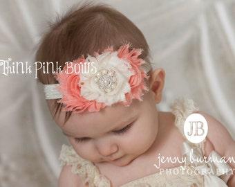 Baby headband,coral and ivory baby headband, flower headband, headband, girls headband,newborn headband,shabby chic headband.