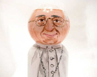 Pope Francis - Catholic Wooden Peg Doll Toy -  made to order
