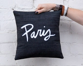 Paris Pillow, Black and White