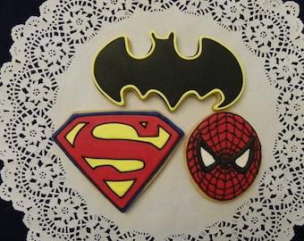 Superman, Spiderman and Batman Cookies