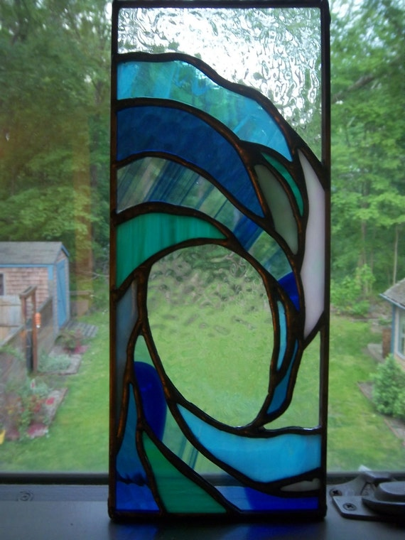 small crashing wave stained glass panel clear sky