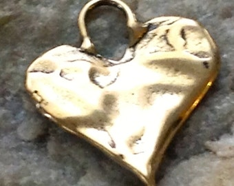 Rustic Artisan Heart Charm Pendants in Golden BRONZE 2 Hearts APB30