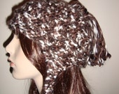 Hand Knit Ear Flap Hat in Chocolate Marshmallow, Chunky and very soft and Fuzzy, Gifts for her